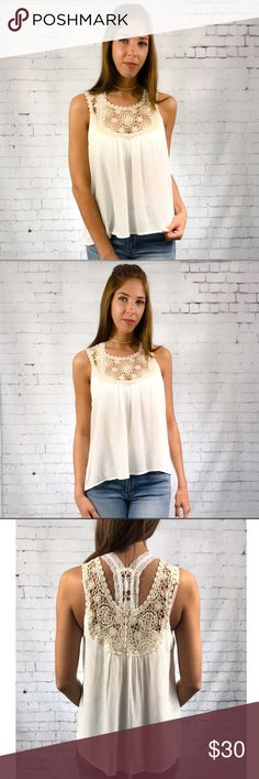 Olive Crochet Sleeveless Blouse Feminine Olivia cream and crocheted lace sleeveless blouse. Pair with bralette's or cami's. Wear dressy or causal. Semi sheer 100% rayon.                                                                                                    Small  Bust 42 Length 24  Medium  Bust 44 Length 25  Large  Bust 46 Length 26 Threads & Trends Tops Blouses