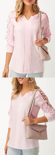 Long Sleeve Lace Panel Pink Blouse.