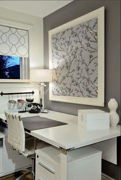gray white home office design framed wallpaper as art