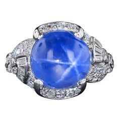 15 Carat Blue Star Sapphire and Diamond Art Deco Ring