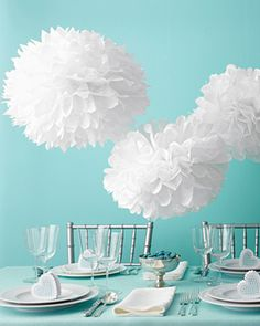 All White Memorial Day Party. Fun pom pom decor kit to use over a food table or above a dance floor!