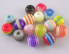 Resin Beads, Round, Lined, Mixed Color
