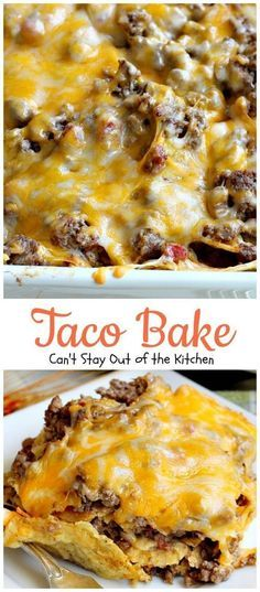 Taco bake<br> This amazing Tex-Mex casserole is filled with a tasty beef mixture, cheese and tortilla chips. Taco Bake is gluten free. Gourmet Recipes, Mexican Food Recipes, Cooking Recipes, Dinner Recipes, Yummy Recipes, Cooking Kale, Mexican Desserts, Cooking Ribs, Weeknight Recipes