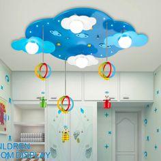 157.25$  Buy now - http://aliiqr.worldwells.pw/go.php?t=32709243410 - cloud lamp Led 110V-220V E27 children ceiling lights  led ceiling lights bedroom living room Acrylic wooden lamp 157.25$