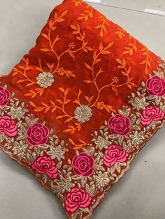 Designer Net Embroidered Bollywood Sarees from Ubig Fashion Navy Blue Color, Off White Color, Orange Color, Traditional Sarees, Traditional Outfits, Pakistani Party Wear, Indian Designer Sarees, Bollywood Party, Ethnic Sarees