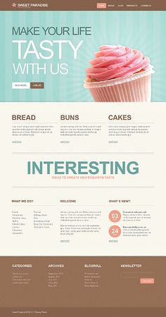 Gorgeous WordPress theme - would suit bakery, ice cream or lolly shop