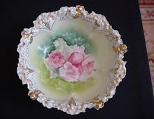 Beautiful R S Prussia bowl, Unusual Mold