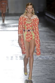 Fancy Retro Floral Swimsuit for Summer Beach   Prada Spring Summer 2012.