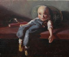 """""""The Puppet: Henry Hanging Out"""" 12""""x14"""" oil on linen by Beverly Brown"""