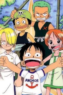 Anime/manga: One Piece Characters: Green haired kid: Zoro Orange haired kid: Nami Black haired kid: Luffy Blonde haired kid: Sanji Kid with green band: Uusop
