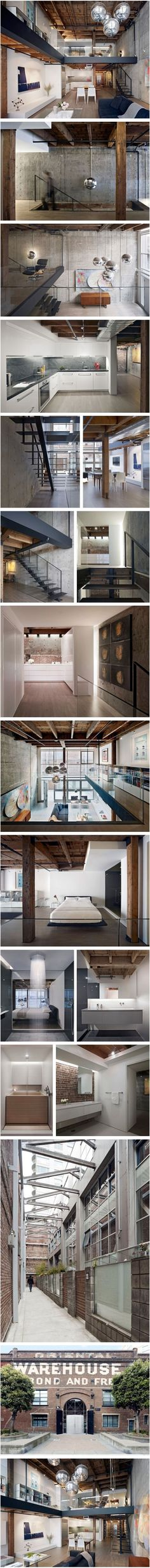 Interior design and architecture for a loft unit in San Francisco's Oriental Warehouse, Building by Edmonds + Lee Architects Lofts, Warehouse Living, Warehouse Loft, Warehouse Design, Architecture Design, Building Architecture, Industrial House, Industrial Style, Industrial Interiors