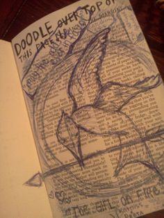 Drawing a mockingjay on a Wreck this Journal page.... want to do this when I get a wreck this journal!!