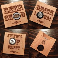 Bottle Opener Beer Coaster Set from the makers of Beer Cap Maps. Open your bottle, display your favorite caps, and keep your bar free of water stains. Check them out now!