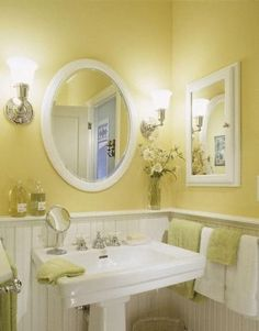 Yellow can be bright and cheery or mellow  and soothing. When its gray outside (like today)  a little yellow can go a long way!    Via  here...