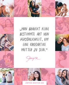 """""""Heute gibt es, genau wie zu biblischen Zeiten, kein Stereotyp einer christlichen Mutter. Siegreiche, zuversichtliche Mütter gibt es in allen möglichen Variationen und Persönlichkeiten."""" – Joyce in """"Zuversicht, Mama!""""  #mamasein #zuversichtmama #buchtipp #diversity #eltern #erziehung Joyce Meyer, Cheer Up, Life Motto, Single Parent, Encouragement, Christian, Parenting, Parents"""