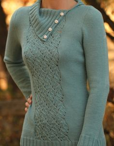 Knitting Pattern Jamison Creek Sweater - Love the split collar and cable lace panel of this long sleeved pullover. More pics on Etsy tba Sweater Knitting Patterns, Knitting Yarn, Crochet Jacket, Knit Crochet, Winter Tops, Jumpers, Casual Outfits, Anna, Crafty