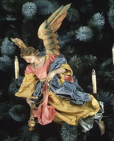 Neapolitan Baroque Angel  Giuseppe Sammartino (1720-1793)  17 1/2''h.| terracotta head, wooden wings & limbs,various fabrics.