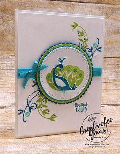 Today I am sharing a beautiful card that is perfect to give a special friend featuring the fabulous Beautiful Peacock stamp set that is available FREE with a qualifying order during Sale-A-bration.