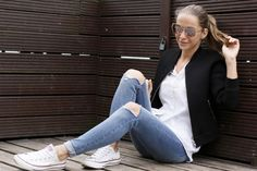 All basics #Converse #jeans #bomber #shirt Diamonds, Converse, Jeans, Shirts, Fashion, Moda, Fashion Styles, Diamond, Dress Shirts