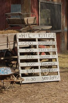 Great way to add a rustic touch while using a pallet! View the full wedding here: http://thedailywedding.com/2016/02/18/refined-rustic-wedding-hannah-luke/