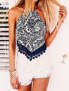 #summer #fashion / pattern print crochet top