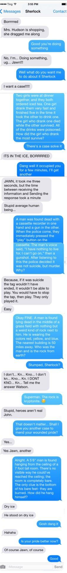 Texts from John to Sherlock- Bored