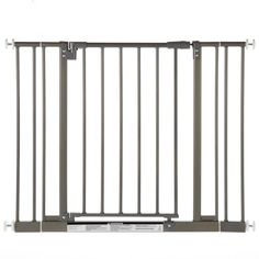 Heavy-duty metal construction. Color: decorative burnished steel. Gate swings both ways. Self closing with hold-open feature. Please note: When you unpack this gate you will notice that it is not squa