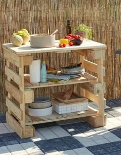Diy Pallet Furniture, Diy Pallet Projects, Garden Projects, Wood Projects, Outdoor Furniture, Garden Furniture, Garden Ideas, Palette Diy, Palette Table
