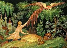 Version of the firebird appear in the folklore of Russia, the Middle East, Ancient Egypt, Central Asia, and China. Love Fairy, Fairytale Art, Antique Illustration, Parcs, Russian Art, Firebird, Faeries, Folk Art, Fantasy Art