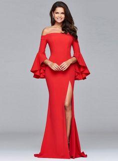 Women's Elegant off Shoulder Flare Sleeve High Slit Maxi Wedding Prom Dress novashe.com