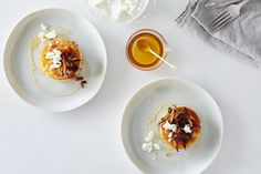 Griddled Polenta Cakes with Caramelized Onions, Goat Cheese, and Honey recipe on Food52
