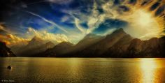 Lake Lucerne sunset.