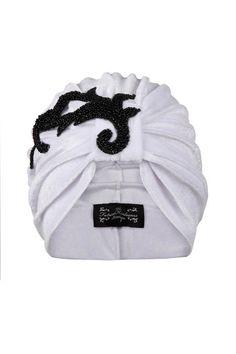 White Velvet Turban with Asymmetrical Applique Detail