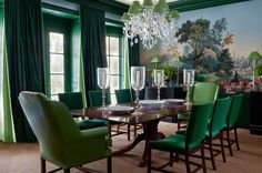 Beautiful Muraled Wall, Tones Of Green, Chandelier With Green Shades    Nancy Braithwaite Green · Green Dining RoomDining ...