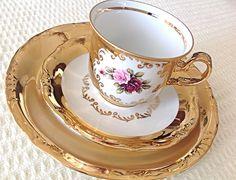 Vintage 24 KT Gold Porcelain H K Bavaria Germany handarbeit tea cup, saucer and dessert plate. by JoyJoeTreasures on Etsy https://www.etsy.com/listing/265812316/vintage-24-kt-gold-porcelain-h-k-bavaria