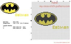 Batman Superhero logo free cross stitch pattern 54 x 27 stitches 2 DMC threads