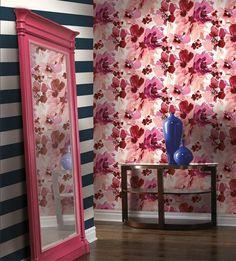 #aquarella, #stacygarcia, #wallpaper Home Wallpaper, Pink Wallpaper, Striped Walls