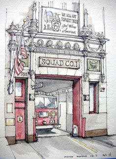 Absolutely awesome!!    FDNY Squad Co 1    Park Slope's Bravest. Ink and watercolor on location.
