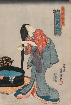 """""Lady Kesa, wife of Watanabe Wataru"" de "" Utagawa Kunisada 歌川国貞 ou Utagawa Toyokuni III 三代 歌川豊国 génération Toyokuni Utagawa). Folklore Japonais, Art Japonais, Japanese Drawings, Japanese Prints, Art Geisha, Japanese Woodcut, Art Chinois, Japan Painting, Japanese Folklore"