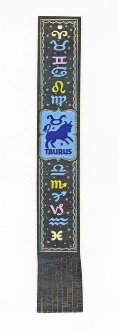 Vintage Leather book mark, Signs of Zodiac - Taurus, by Owen Wise - Horoscope #AntiochBookPlateCompanyYellowSpringsOhio