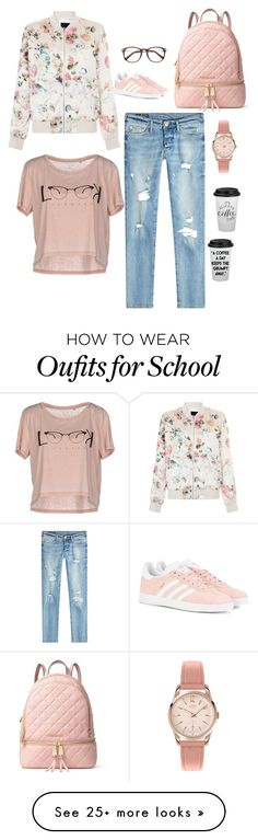 """""""school outfit"""" by jasive-asseff-jamous on Polyvore featuring adidas Originals, New Look, True Religion, ONLY, MICHAEL Michael Kors and Henry London"""