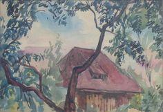 Tymon NIESIOŁOWSKI ,Chata, akwarela, papier, 23 x 33,5 cm w świetle passe-partout