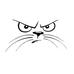 Not Happy Cat Face Animal Window Stickers Personalized Car Bumper Decals Classic Car Styling Accessories Window Stickers, Bumper Stickers, Cat Drawing, Line Drawing, Angry Cat, Cat Tattoo, Tattoo Arm, Cat Face, Animal Drawings