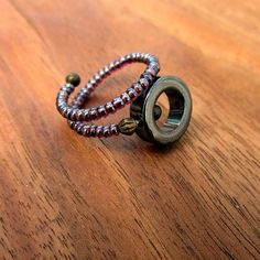 Memory Wire Ring Beaded Adjustable Purple with by artspell on Etsy, $15.00