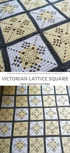 Victorian Lattice Square Free Crochet Pattern Do you like delicate colors? This palette is gender-neutral, so go for it if you don't know baby's sex yet. Contrasting joining is an easy way to give this project more character. Crochet Blocks, Granny Square Crochet Pattern, Crochet Squares, Crochet Granny, Crochet Motif, Crochet Stitches, Free Crochet, Granny Squares, Baby Afghan Crochet