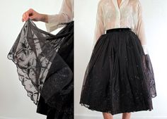 50s Sheer Black Skirt  1950s Skirt by jessjamesjake on Etsy, $60.00