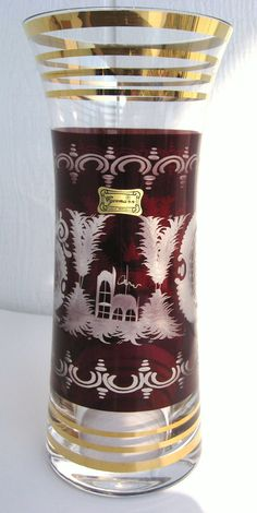 Egermann Bohemian Ruby Red Cut Clear by VintageFunkandFlair