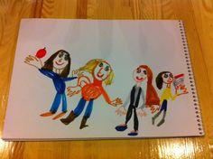 Kseniya drawn Urban Sketchers Ukraine girls from today's meeting in coffeeshop