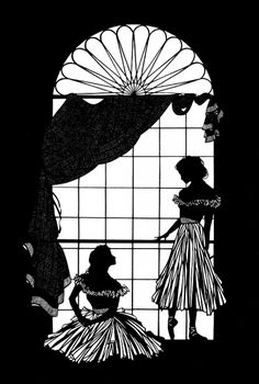 Sisters at Window Cut Paper Illustration
