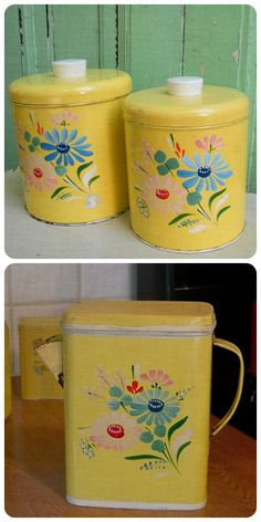 Vintage Canister Set Ransburg Hand Painted Daisies | From GloryBDesign On  Etsy .